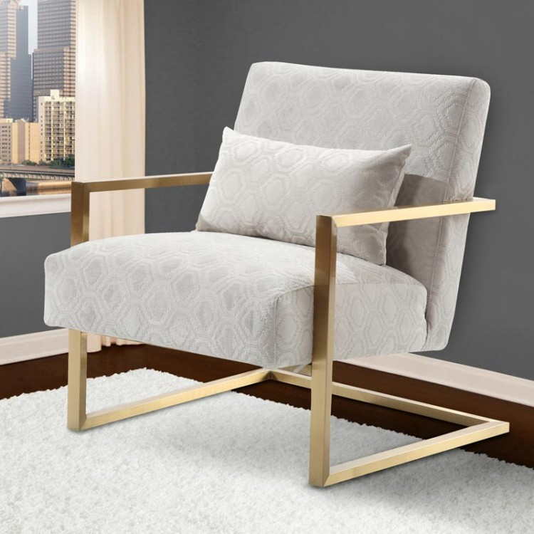Accent Chair Mixed Metal: Skyline Modern Accent Chair In Cream Chenille And Gold