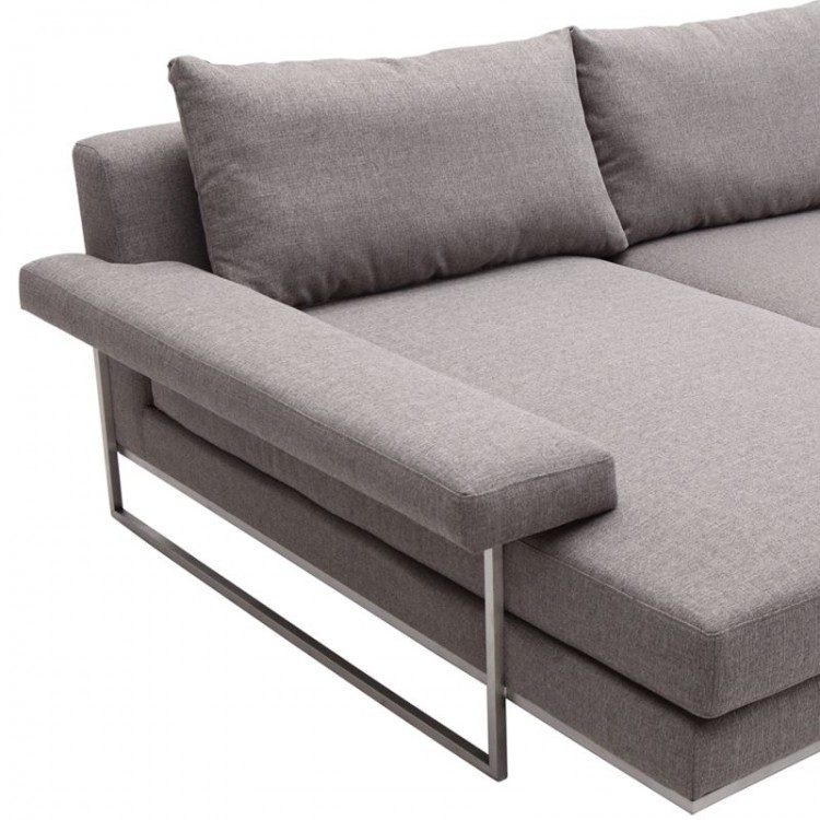 Venice Corner Sofa Sectional in Brushed Steel finish with ...