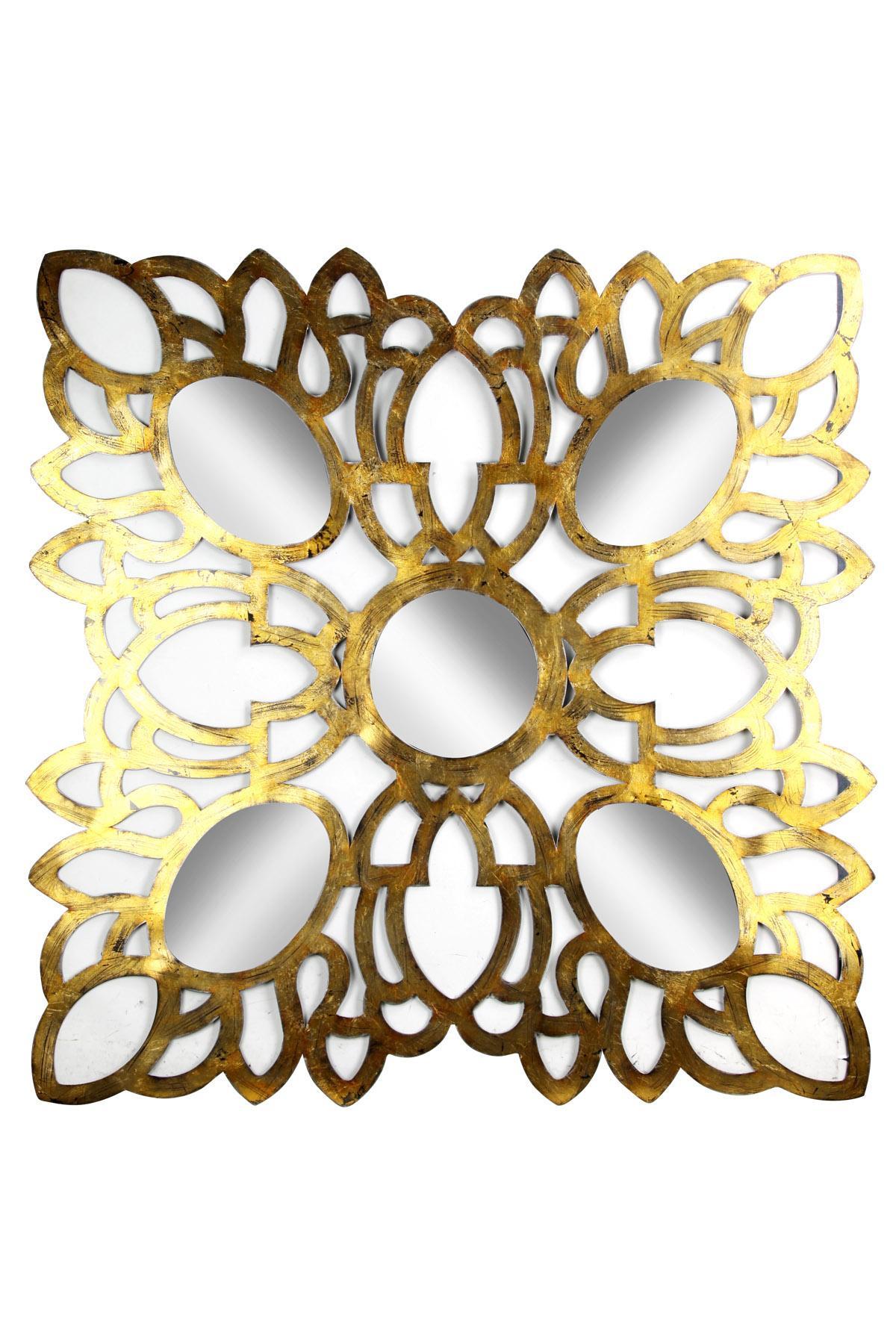 62c49feb6a03 Holywood Glam Gold Mirror Round Designs Inside Square Frame - Boulevard  Urban Living