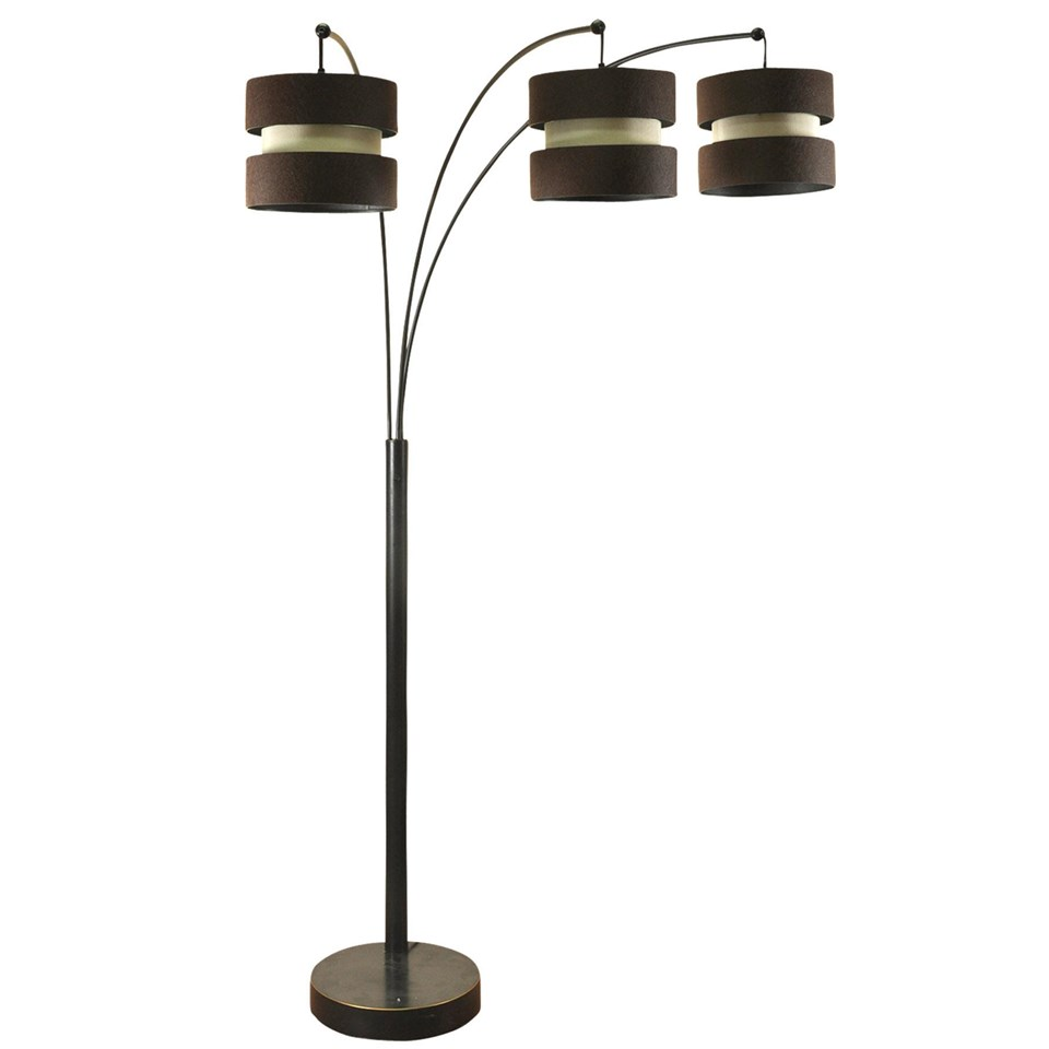 Madison bronze 3 arm arch floor lamp boulevard urban living madison bronze 3 arm arch floor lamp with custom shades aloadofball Image collections