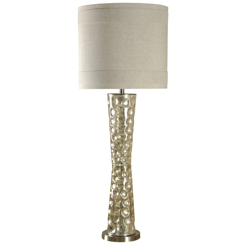 Mercury Glass And Brushed Nickel Tall Table Lamp