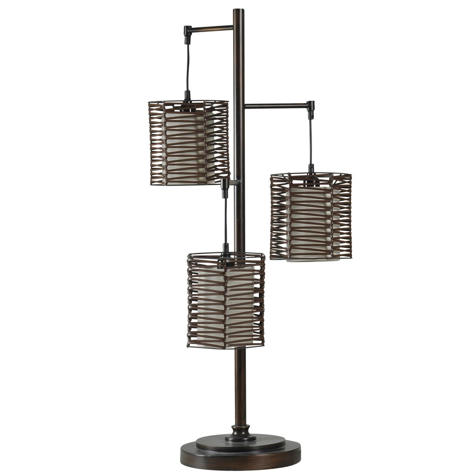 Metal and rattan contemporary table lamp boulevard urban living metal and rattan contemporary table lamp in bronze finish aloadofball Images