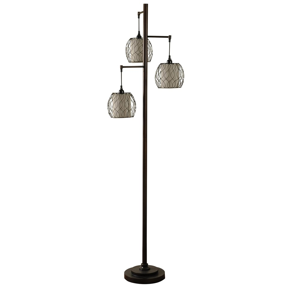 Mid modern lamp post inspired floor lamp boulevard urban living mid modern lamp post inspired floor lamp with caged woven shades mozeypictures Gallery