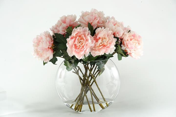 Pink Peonies In Glass Vase Boulevard Urban Living