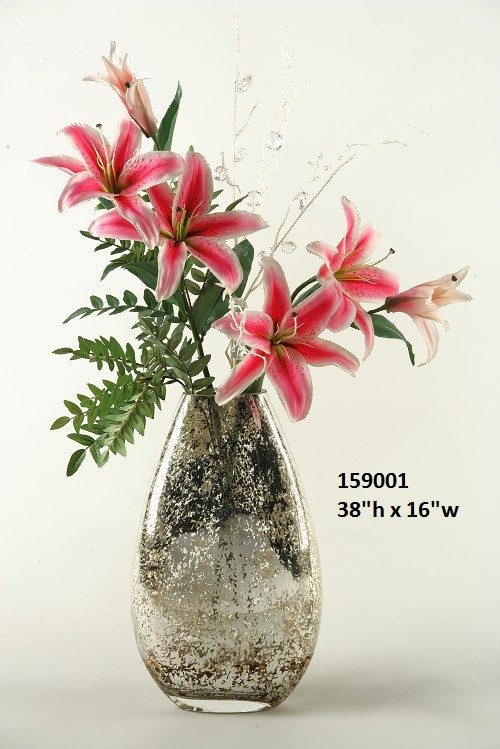 Pink Lilies In Antique Silver Glass Vase Boulevard Urban Living