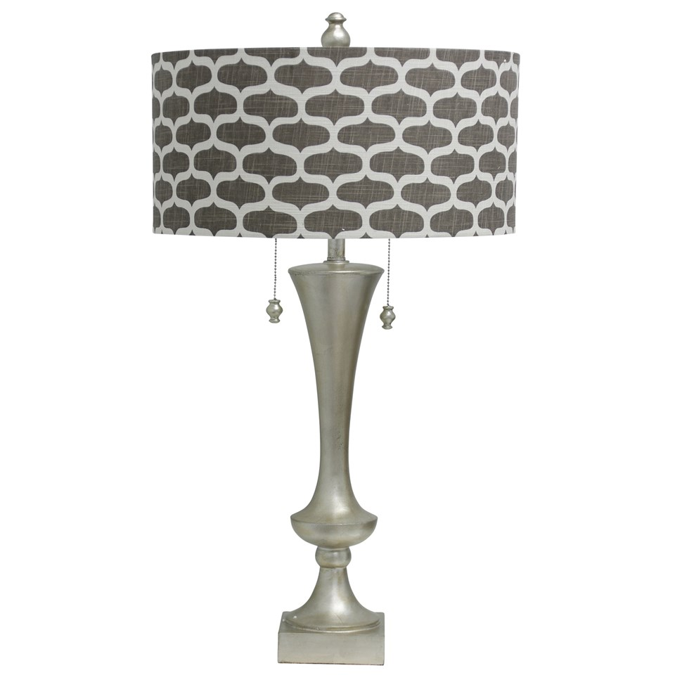 Silver leaf table lamp double pull chains designer fabric drum shade silver leaf table lamp double pull chains designer fabric drum shade aloadofball Image collections
