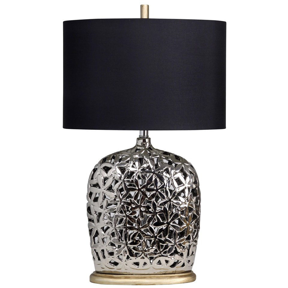Titanium finish ceramic table lamp on gold base boulevard urban living titanium finish ceramic table lamp on gold base with black fabric drum shade aloadofball Images