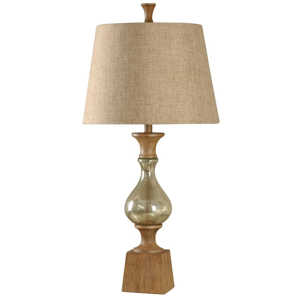 Traditional Table Lamp Mercury Glass Base In North Bay Finish Light Brown  Woven Fabric Shade