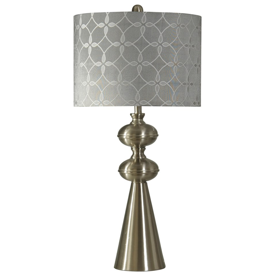 Transitional brushed steel table lamp boulevard urban living transitional brushed steel table lamp with gray toned pattern shade aloadofball Choice Image