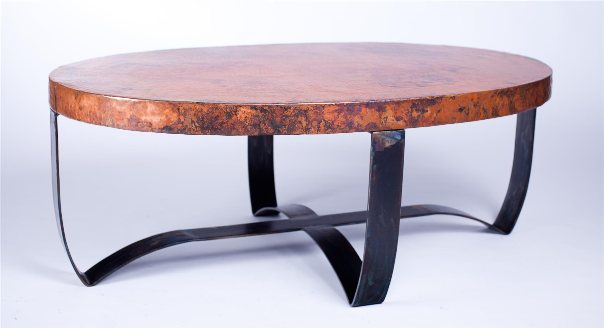 Oval Strap Cocktail Table With Hammered Copper Top