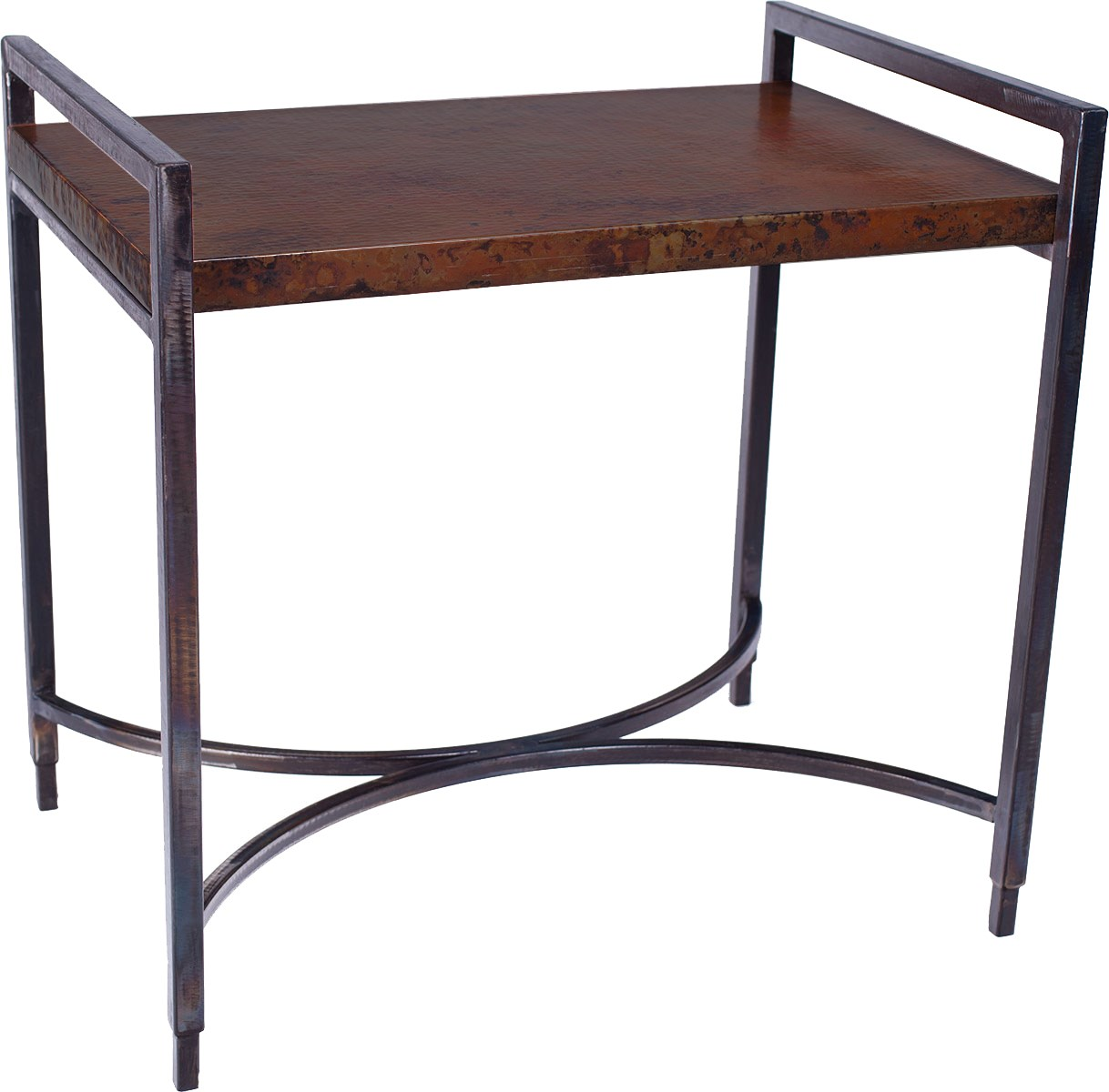 Rectangular Iron Tray Table With Dark Brown Hammered