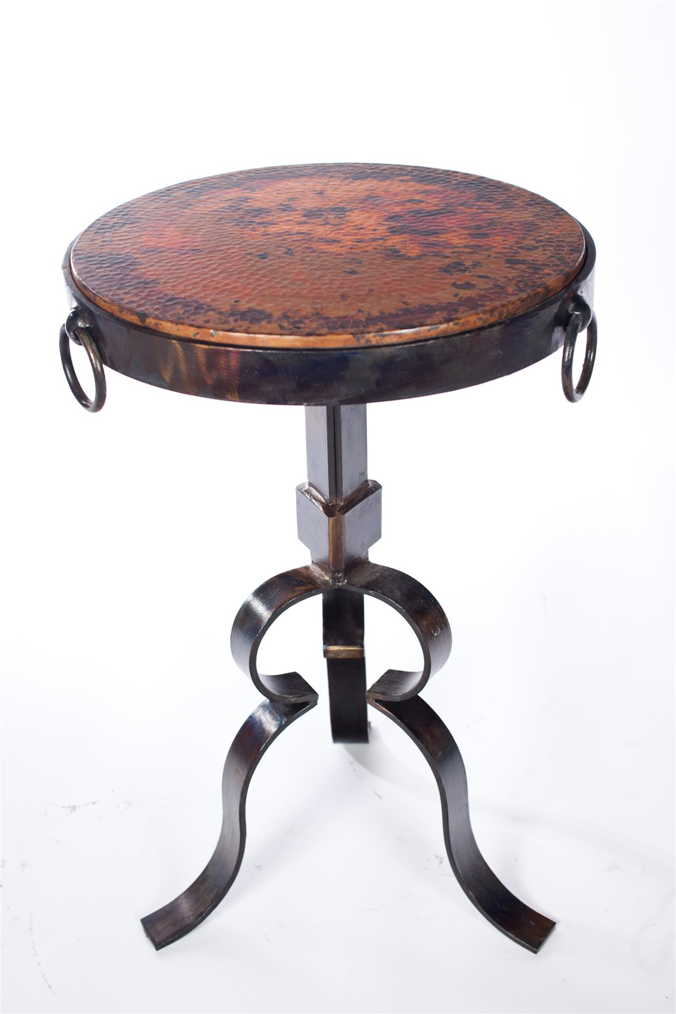 Round Iron Accent Table With Hammered Copper Top Boulevard Urban - Copper top accent table