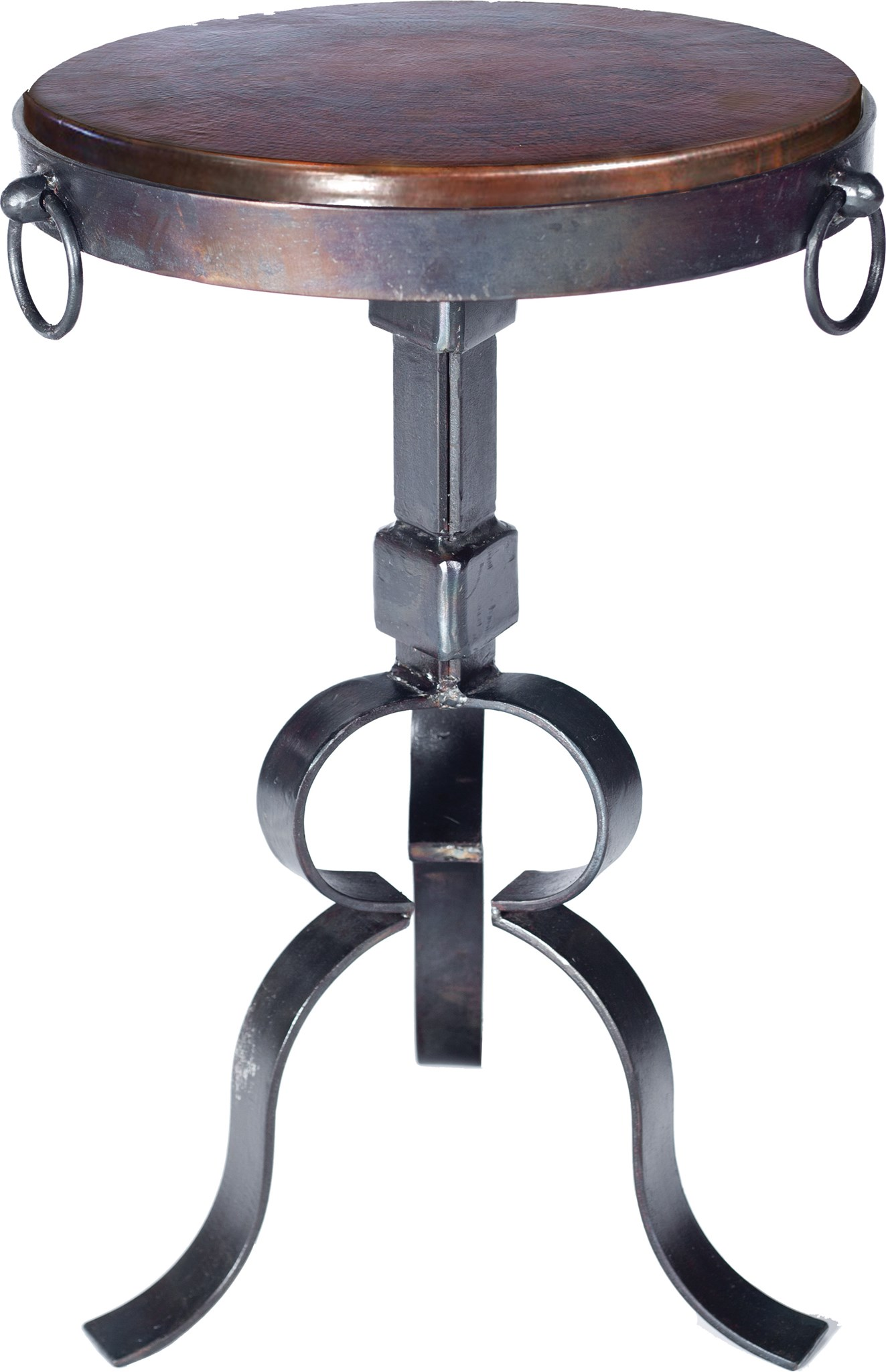 Round Iron Accent Table With Dark Brown Hammered Copper Top - Copper top accent table