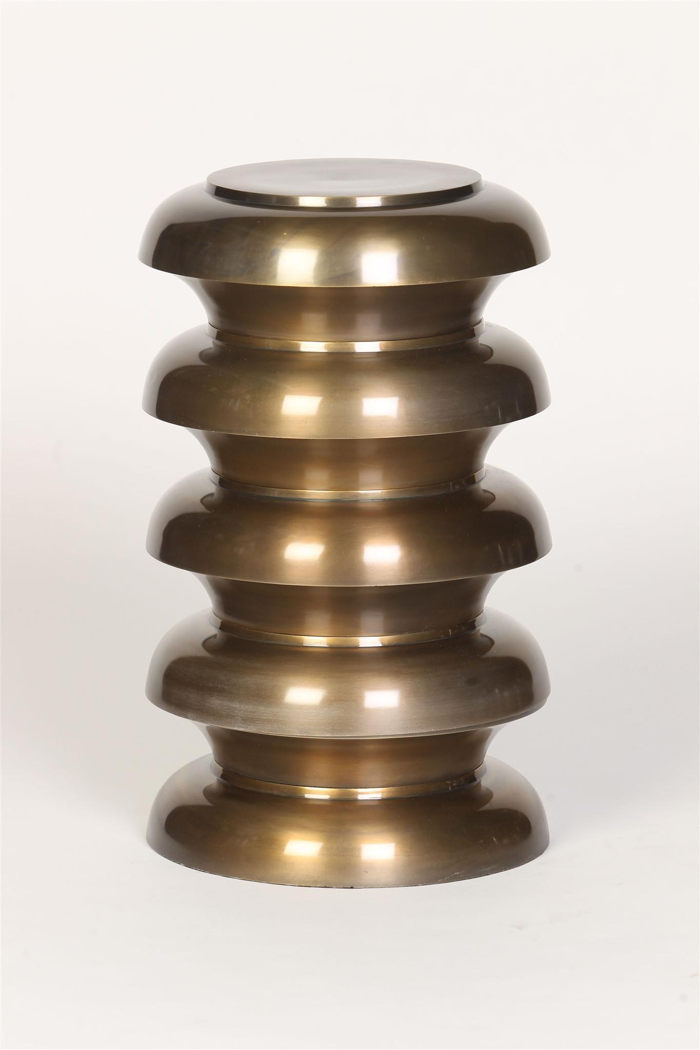 Cast Aluminum Stacked Round Garden Stool in Antique Brass Finish ...